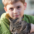 Boy and cat — Stock Photo #28019081