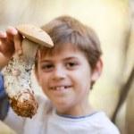 Boy with mushroom — Stock Photo