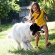 Little girl with dog running — Stock Photo