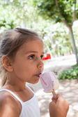 Enjoying ice-cream — Stock Photo