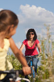Mother and daughter cycling — Stock Photo
