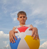 Young boy with beach ball — Stock Photo