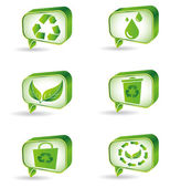 Set of green ecology icons — Stock Vector