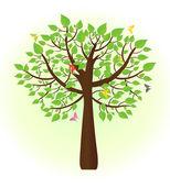 飞来飞去的蝴蝶生态树 — 图库矢量图片