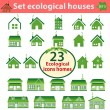 Stock Vector: Set of ecological houses of varying complexity