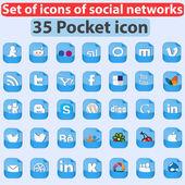 большой набор иконок социальных сетей. карманные значки — Cтоковый вектор