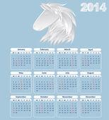 Calendario para el año 2014. año del caballo — Vector de stock