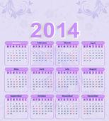Kalender für das Jahr 2014 mit einem Blumenmuster und ein Pferd — Stockvektor