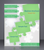 Business brochure with elements of puzzles. — Stock Vector