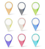 Set of multicolored map pins — Stock Vector