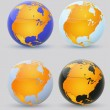 Globe and North America. Set of multi-colored globes of America — Stock Vector