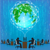 Globe network connection. Matrix technology — Stock Vector