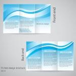 Tri-fold brochure design. Brochure template design with blue an — Stock Vector