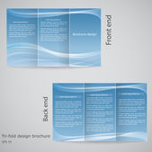 Tri-fold brochure design. Brochure template design with blue an — Stock Vector