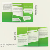 Tri-fold brochure design. Brochure template design with green color. — Stock Vector