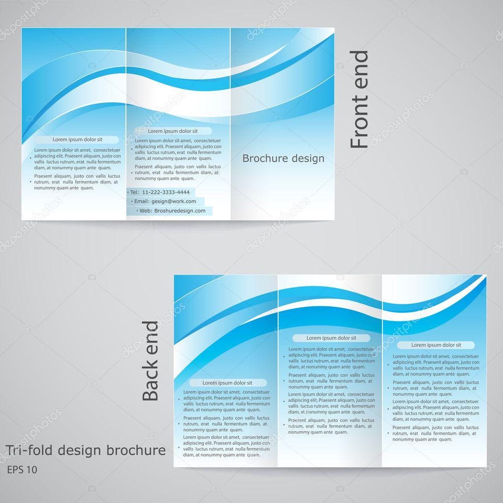 Tri-fold brochure design. Brochure template design with blue an ...
