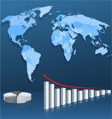 Mapa świata z wykresu — Wektor stockowy