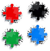 Parts of multicolored puzzles — Stock Vector