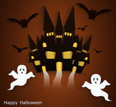 Halloween background with scary ghosts. — Stock Vector