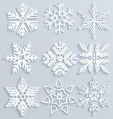 Sneeuw decoraties. set van papier sneeuwvlokken — Stockvector