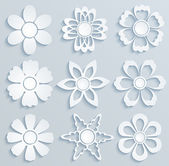 Flores de papel. conjunto de adornos de papel — Vector de stock