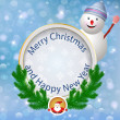 Christmas greeting card.Festive appliques background with snowma — 图库矢量图片