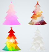 Set of Christmas trees. Geometric holiday decorations — Stock Vector