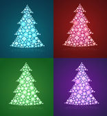 Christmas trees & a set of twinkling holiday decorations — 图库矢量图片