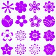 Set of flowers. Floral vector icons — Stock Vector