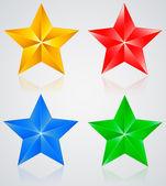 Stjärnor i & färgade femsidig stjärna med skuggor — Stockvektor