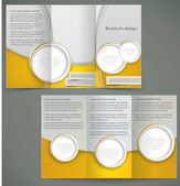 Vector silver brochure layout design with yellow elements, busin — Stock Vector