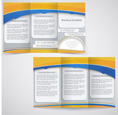 Vector blue brochure layout design with yellow elements, busines — Stock Vector