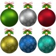 Stock Vector: Colorful Christmas balls with snowflakes, hanging, with elements