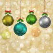 Christmas balls with red ribbons and elements of fir tree — Vecteur
