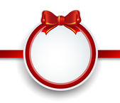 Christmas gift frame with red ribbon and bow. — Vector de stock