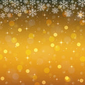 Golden background with snowflakes. Christmas lights with stars — Stock Vector