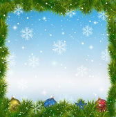Christmas blue background with snowflakes and toys — Stockvektor