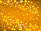 Golden background with stars. Christmas luminous sky — Wektor stockowy