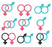 Symbols relations between man and woman — Stock Vector
