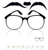 Classic glasses, mustache. Set of colored lenses — Stock Vector