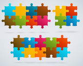 Parts of colorful puzzles. Set of 8, 4, 10 vector pieces — Stock Vector