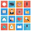 Flat business and office icons with long shadow, SEO website, — Stock Vector