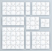 Jigsaw Puzzle Templates. Set of puzzle 15, 3, 12, 10, 9, 4, 16, 25 pieces — Stock Vector