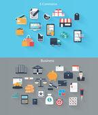 一套为 web、 移动设备、 电子商务、 业务平面图标 — 图库矢量图片