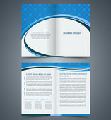 Blue bifold brochure template design, business leaflet, booklet — Stock Vector