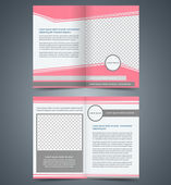 Empty bifold brochure template design with pink color, layout store flyer, Poster Magazine cover, booklet — Stock Vector