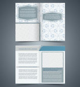 Empty bifold  brochure template design with pattern, business le — Stock Vector