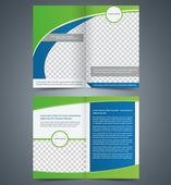 Empty bifold brochure template design with green color, booklet — Stock Vector