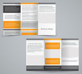 Tri-fold business brochure template, vector orange design flyer — Stock Vector