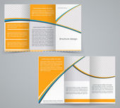 Tri-fold business brochure template, vector orange design flyer — Stok Vektör